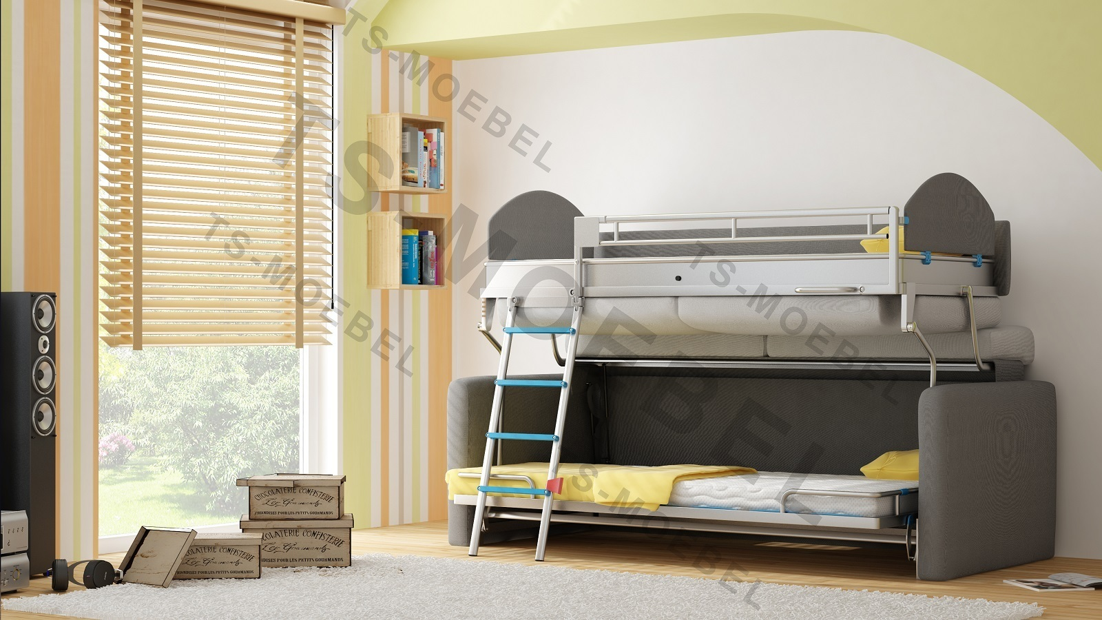 ts m bel wall bed duo sofa mit etagenbett inkl matratzen neu. Black Bedroom Furniture Sets. Home Design Ideas