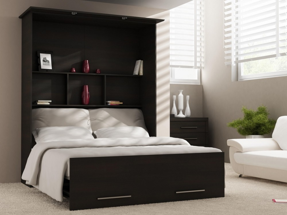 wandbett 50 w 1 140x200 cm holzfarbe ferrara eiche schwarz braun. Black Bedroom Furniture Sets. Home Design Ideas