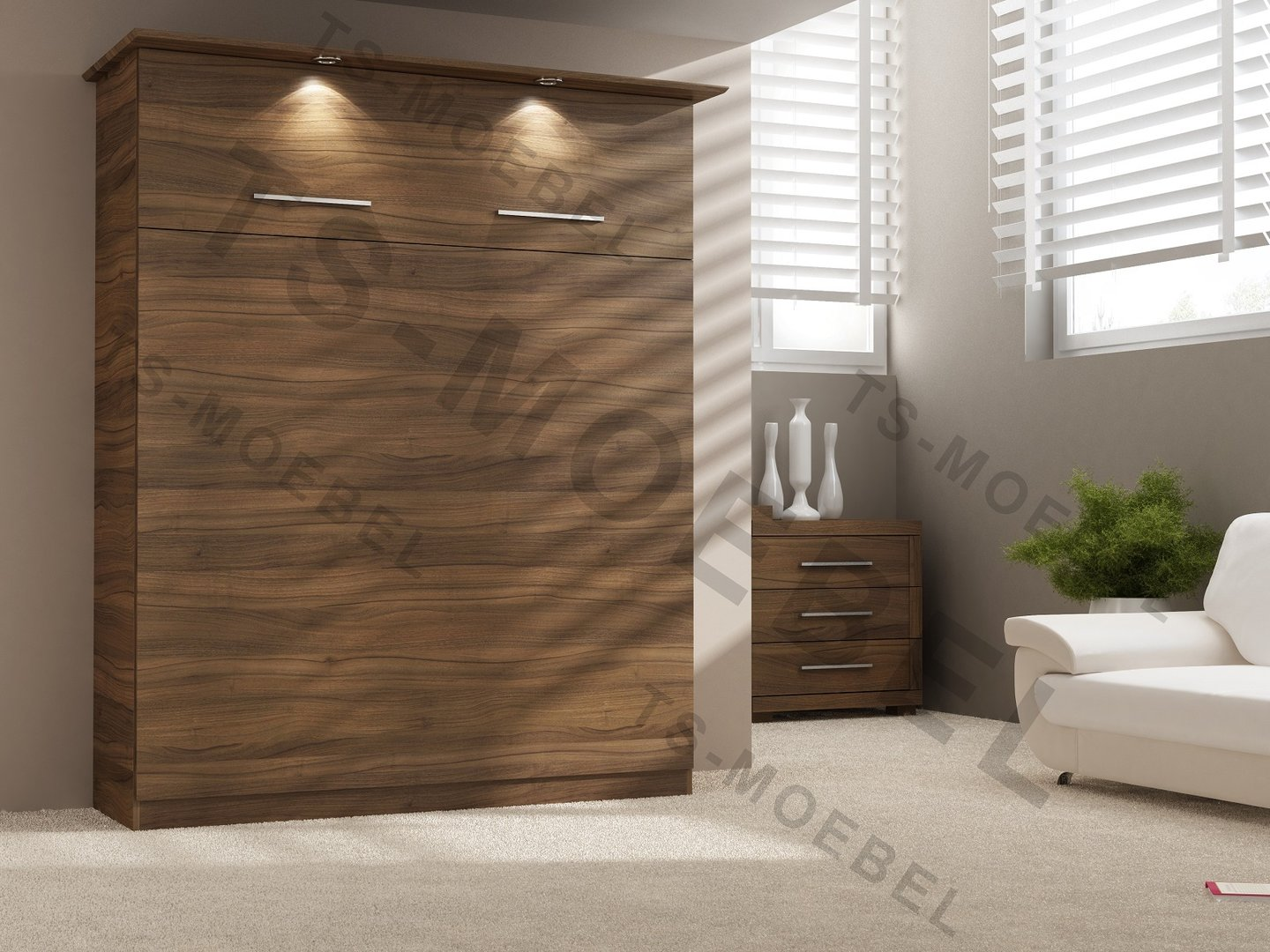 ts m bel wandbett 50 w 1 160x200 cm holzfarbe nussbaum natur. Black Bedroom Furniture Sets. Home Design Ideas