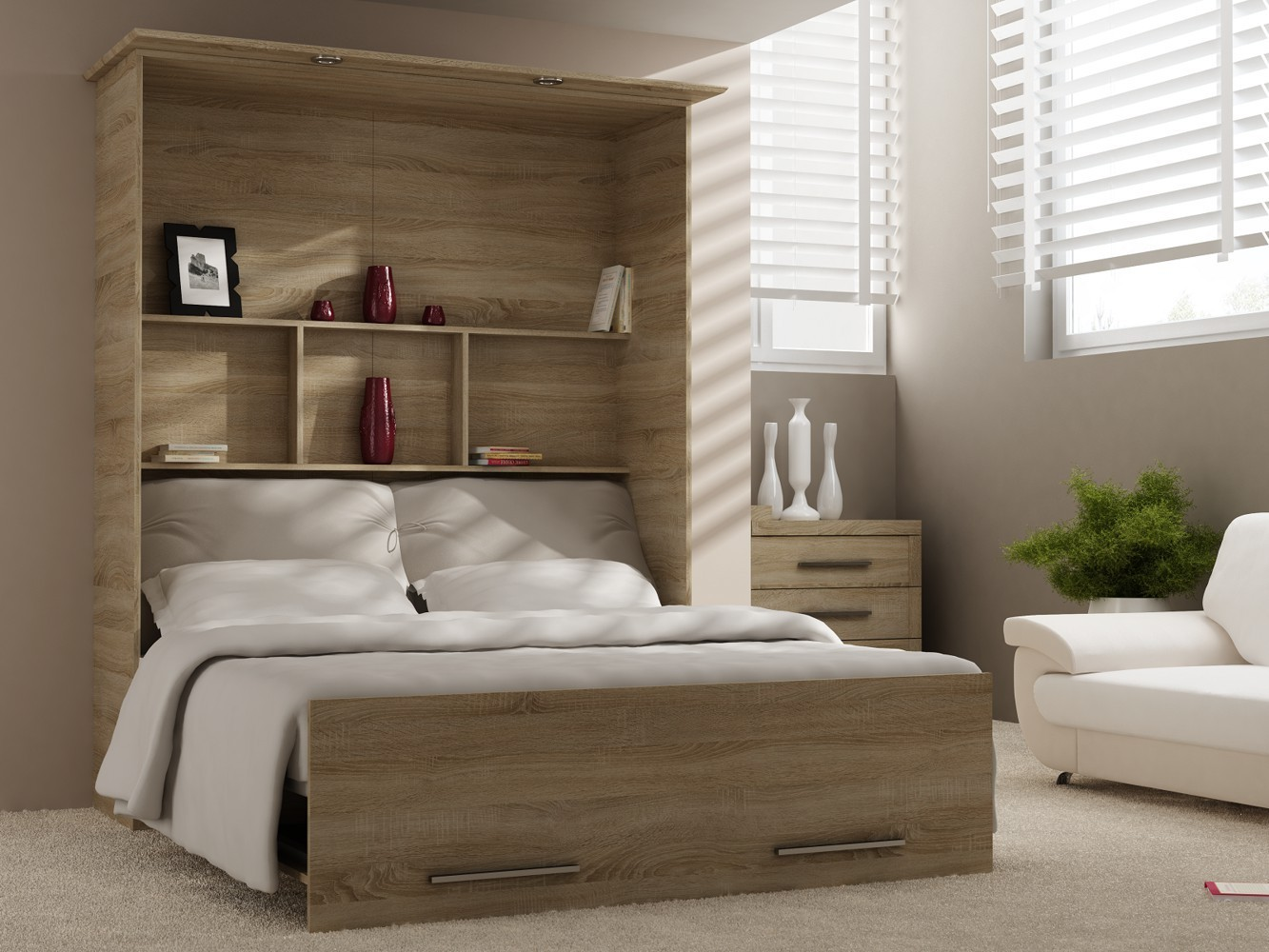 wandbett 50 w 1 160x200 cm in bardolino eiche grau hochkant. Black Bedroom Furniture Sets. Home Design Ideas