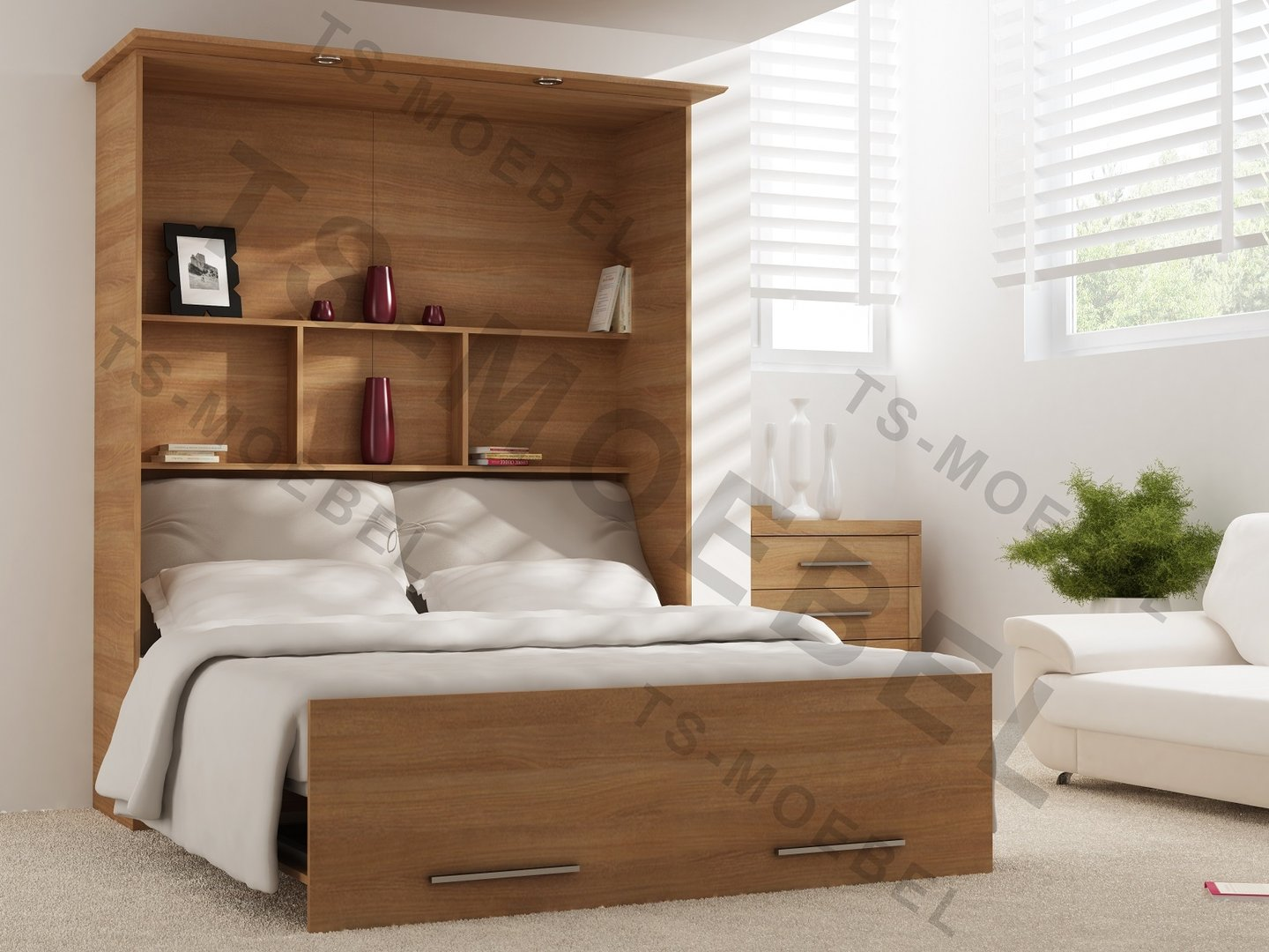 wandbett 50 w 1 140x200 cm holzfarbe cassino esche braun. Black Bedroom Furniture Sets. Home Design Ideas