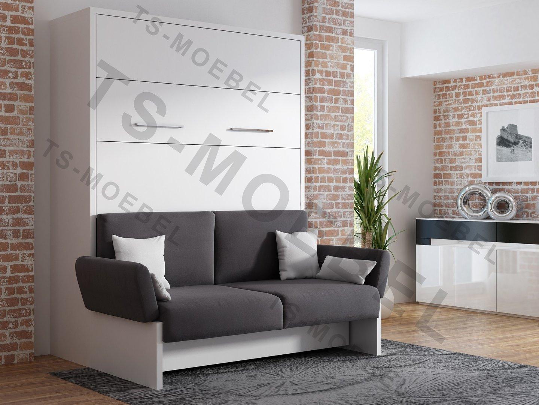 Ts möbel wandbett mit sofa wbs 1 soft 140 x 200 cm in weiß neu