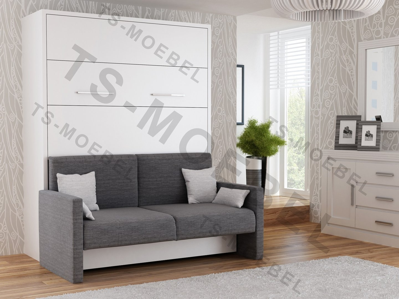 Wandbett mit Sofa WBS 1 Prestige 140 x 200 cm in Weiß