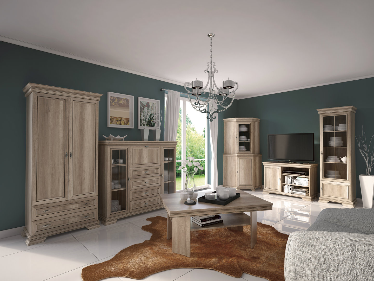 ts m bel vitrine kora krw1 holzfarbe eiche rustikal neu. Black Bedroom Furniture Sets. Home Design Ideas