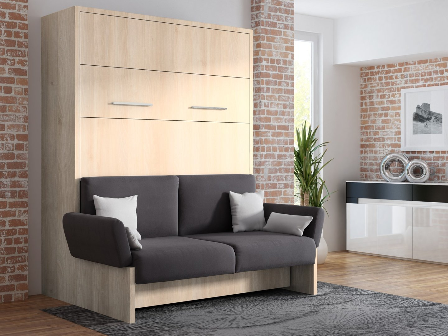 wandbett mit sofa wbs 1 soft 160 x 200 cm in akazie hell. Black Bedroom Furniture Sets. Home Design Ideas