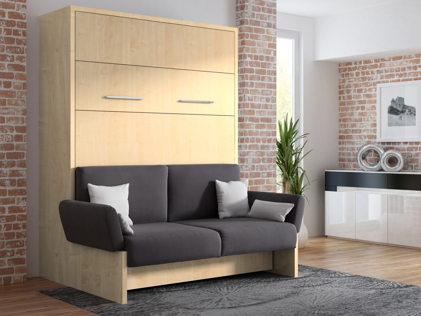wandbett mit sofa wbs 1 soft 140 x 200 cm in ahorn honig. Black Bedroom Furniture Sets. Home Design Ideas