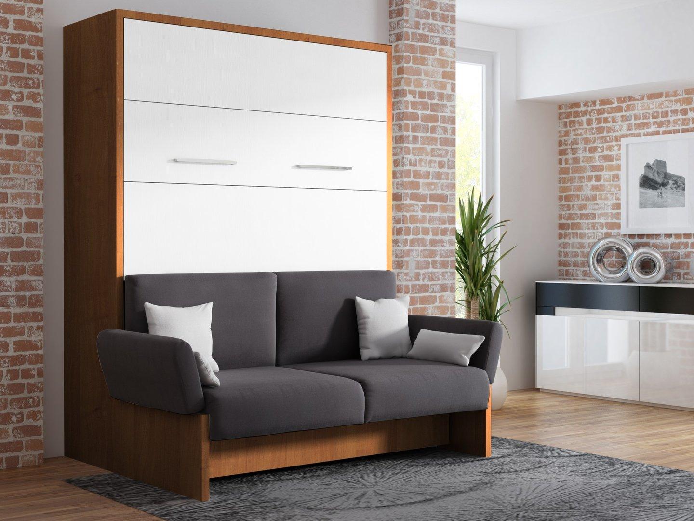 wandbett mit sofa wbs 1 soft 160 x 200 cm in nussbaum wei. Black Bedroom Furniture Sets. Home Design Ideas