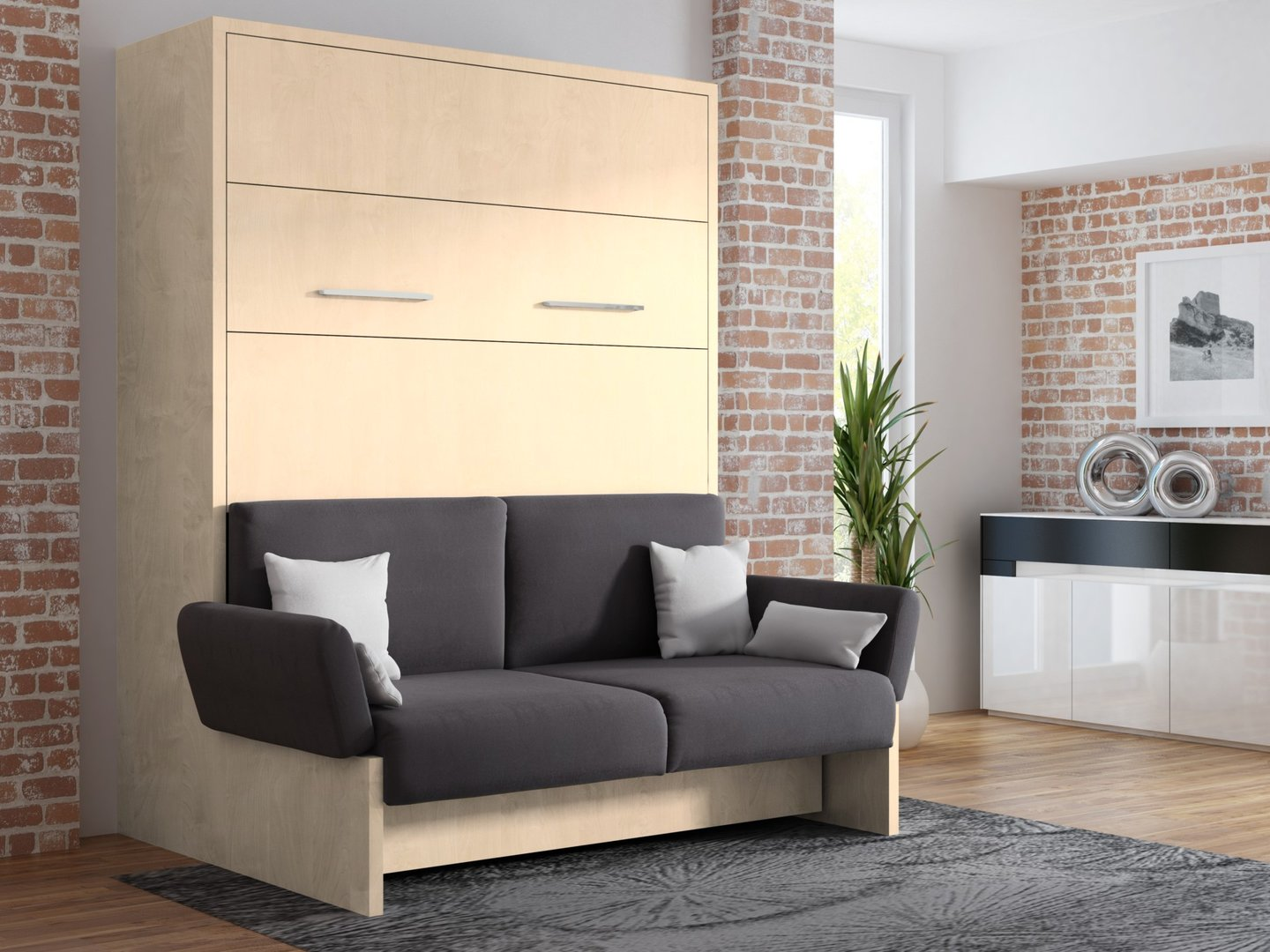 wandbett mit sofa wbs 1 soft 160 x 200 cm in mainau birke. Black Bedroom Furniture Sets. Home Design Ideas