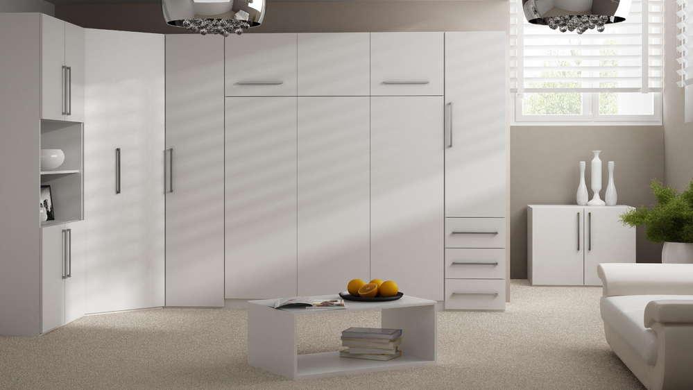 Wandbett Schrankbett 50-W-4 140 x 200 cm mit Kleiderschrank Weiß