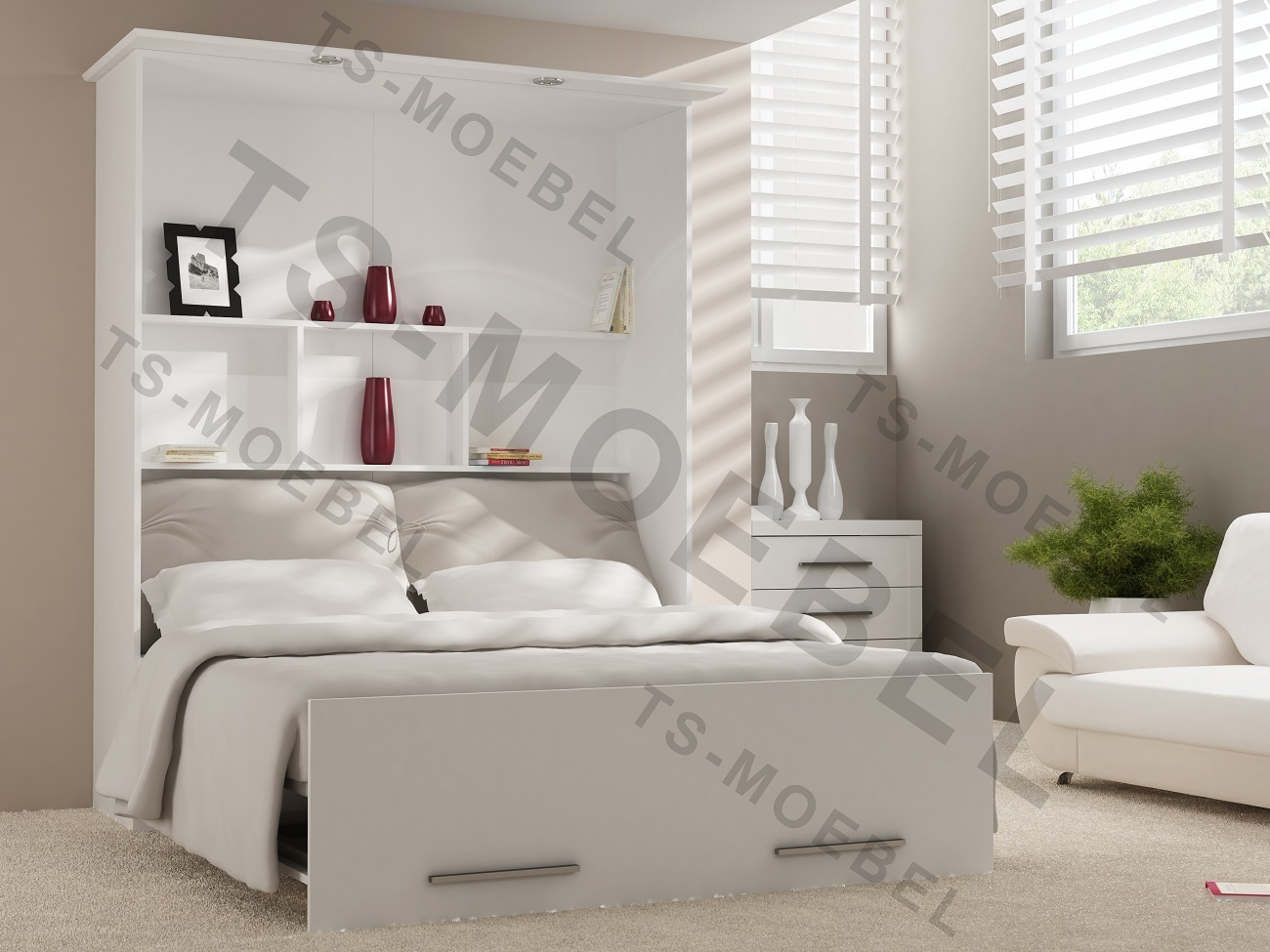 wandbett schrankbett 50 w 4 160 x 200 cm mit 2 schr nken in weiss. Black Bedroom Furniture Sets. Home Design Ideas