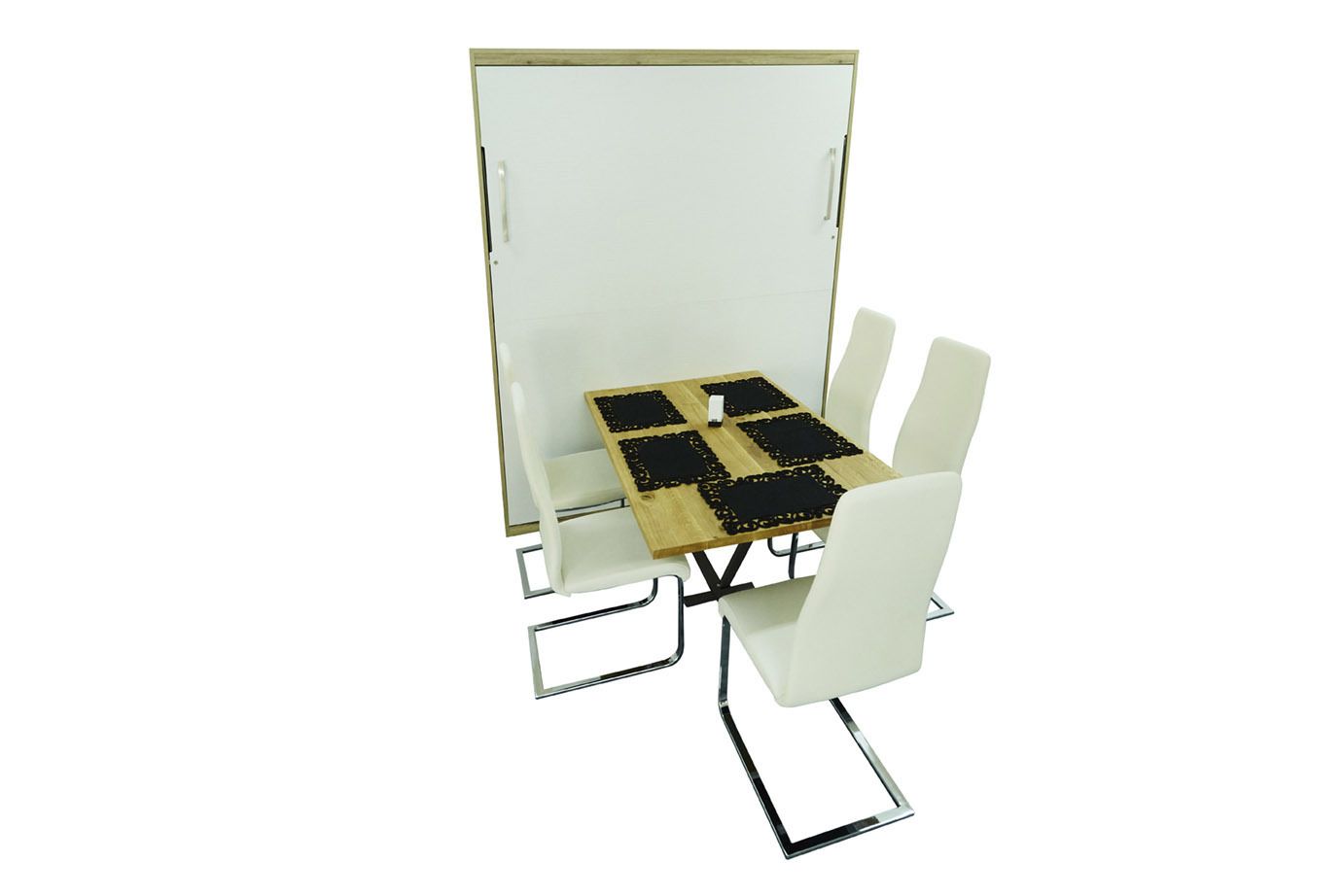 wandbett mit esstisch dinner 160 x 200 cm in wei nussbaum. Black Bedroom Furniture Sets. Home Design Ideas