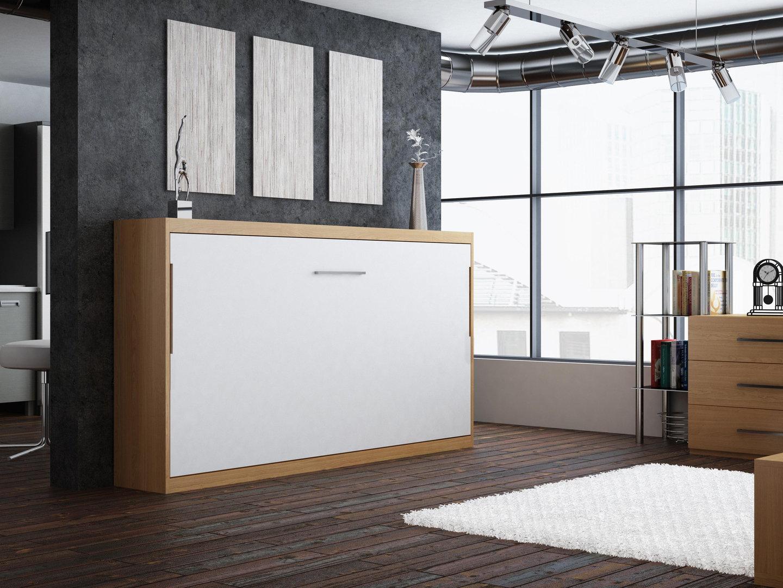 quer wandbett schrankbett singlo 90 x 200 cm in wei buche. Black Bedroom Furniture Sets. Home Design Ideas