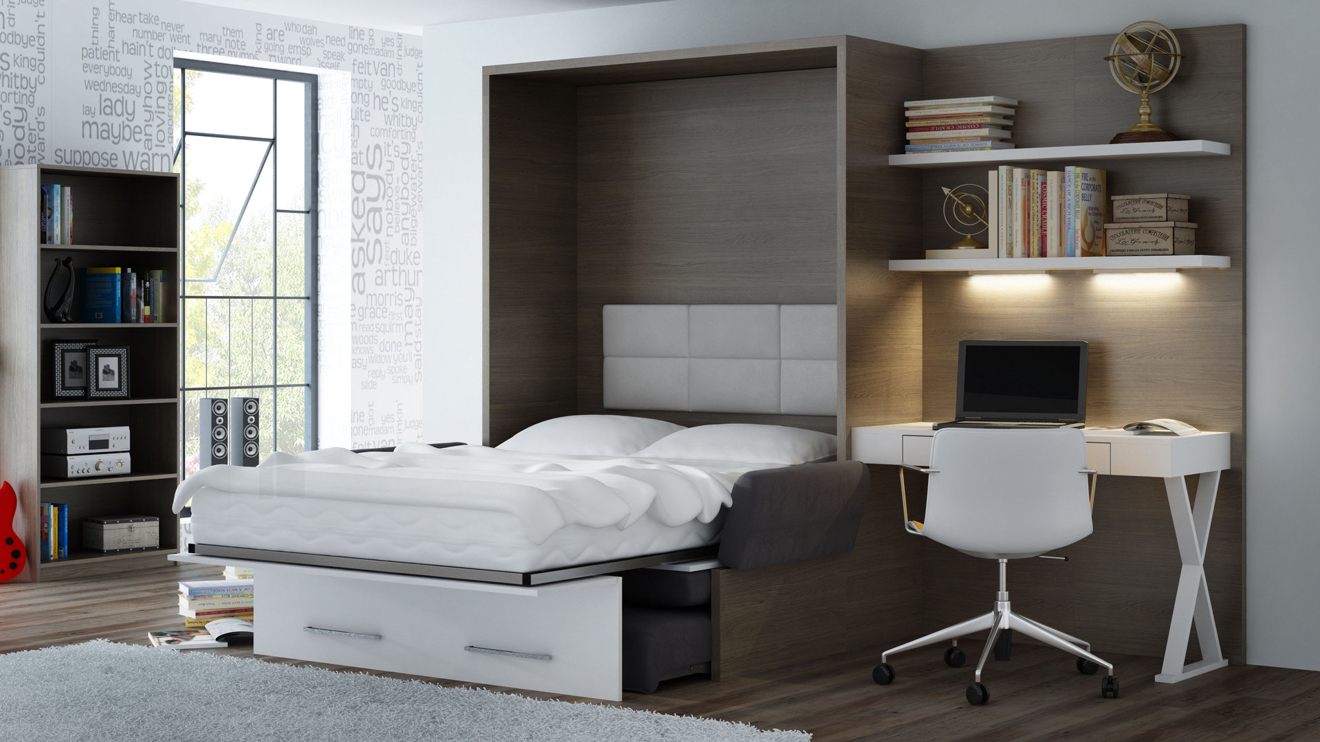 ts m bel panell mit schreibtisch office eiche grafit wei neu. Black Bedroom Furniture Sets. Home Design Ideas