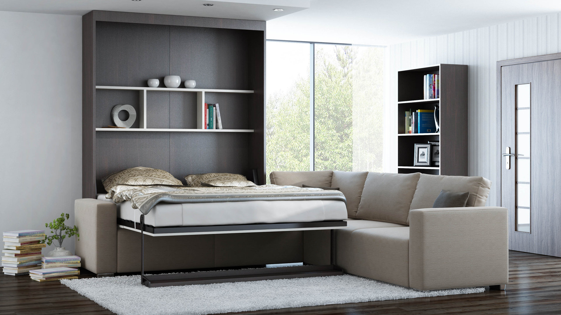 ts m bel wandbett mit sofa ecke leggio linea std std 160 x 200 cm. Black Bedroom Furniture Sets. Home Design Ideas