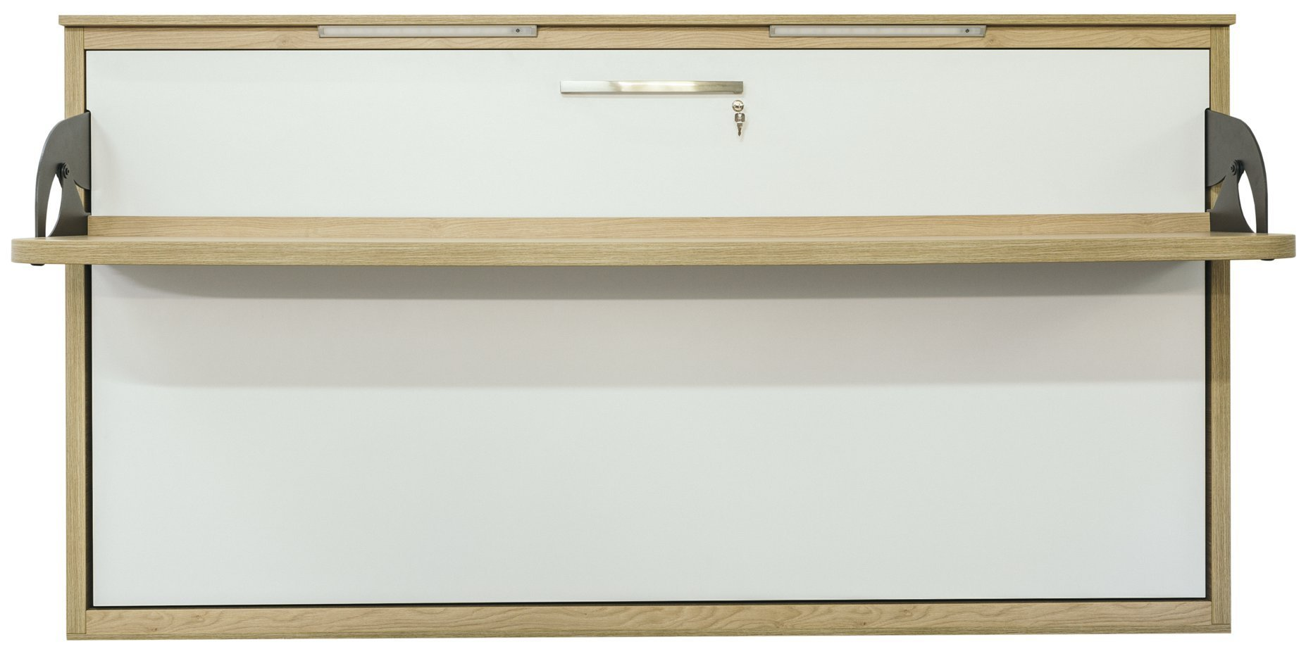 Quer Wandbett Schrankbett Singlo Desk 90 x 200 cm, in Weiß-Buche