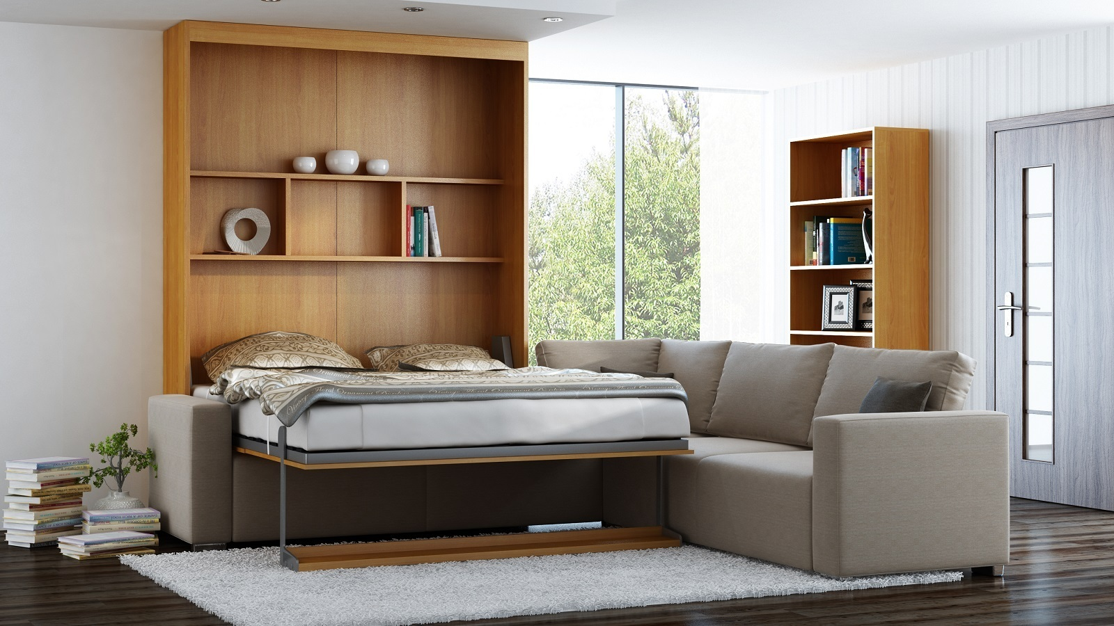 wandbett mit sofa ecke leggio linea std std 160 x 200 cm kirsche. Black Bedroom Furniture Sets. Home Design Ideas