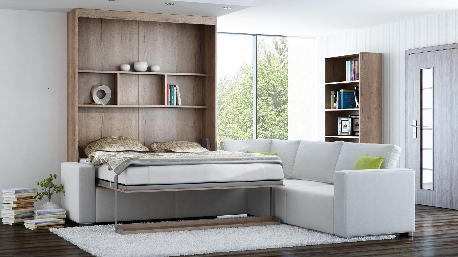 ts m bel wandbett mit sofa ecke leggio linea std std 160 x 200 cm. Black Bedroom Furniture Sets. Home Design Ideas