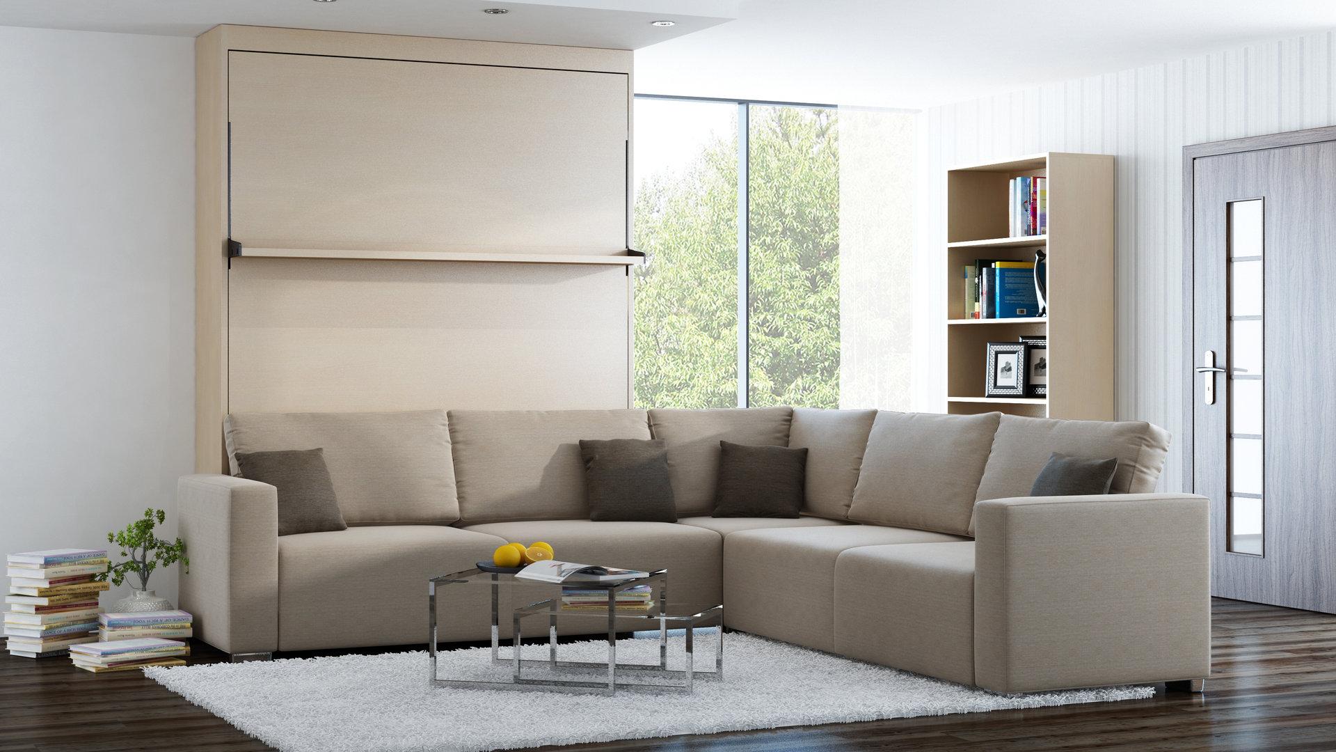 wandbett mit sofa ecke leggio linea std std 140 x 200 cm mainau. Black Bedroom Furniture Sets. Home Design Ideas