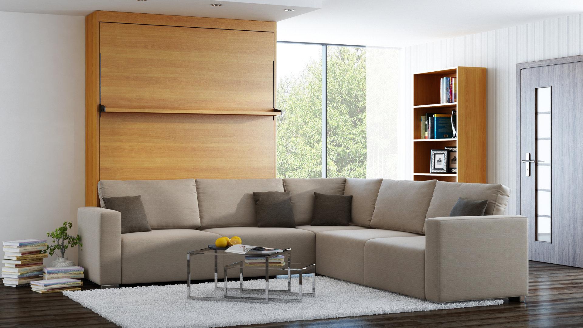 wandbett mit sofa ecke leggio linea std std 140 x 200 cm kirsche. Black Bedroom Furniture Sets. Home Design Ideas