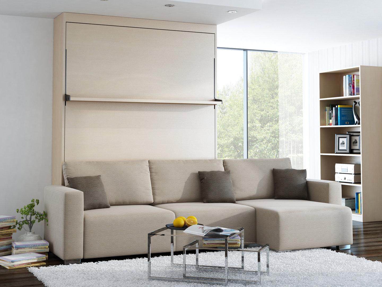 Wandbett mit sofa ecke leggio linea lw 140 x 200 cm mainau birke - Wandbett mit sofa ...