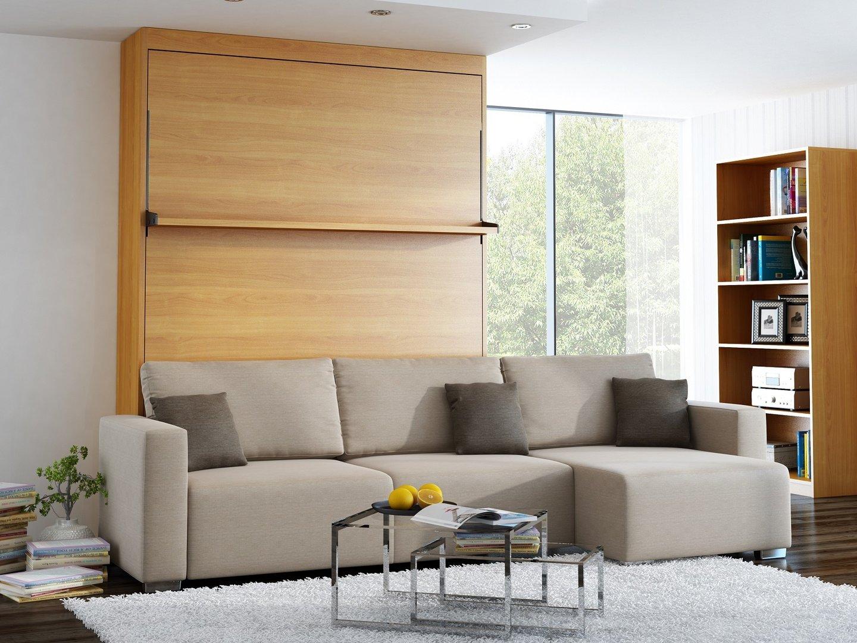 wandbett mit sofa ecke leggio linea lw 140 x 200 cm kirsche. Black Bedroom Furniture Sets. Home Design Ideas
