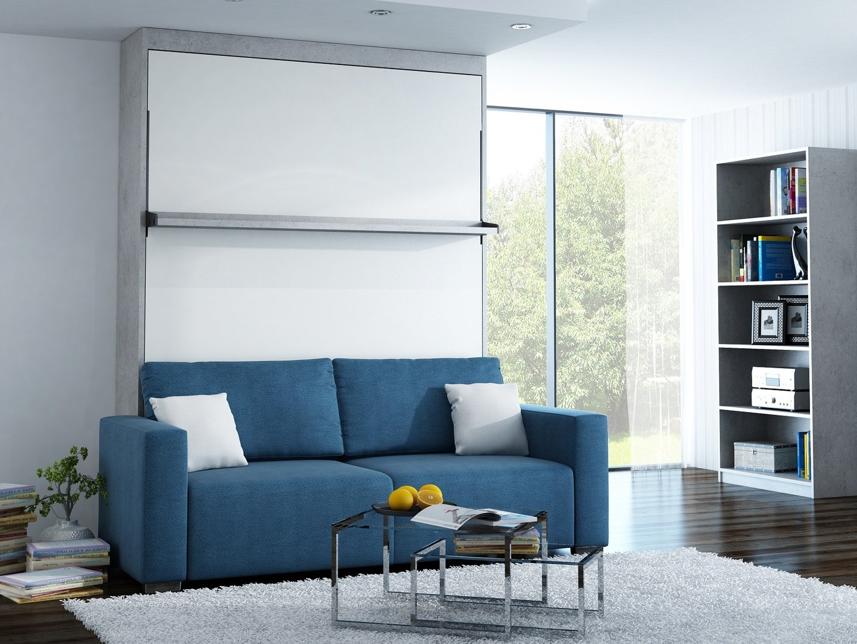 Wandbett mit sofa leggio linea std 160 x 200 cm chicago hellgrau - Wandbett mit sofa ...