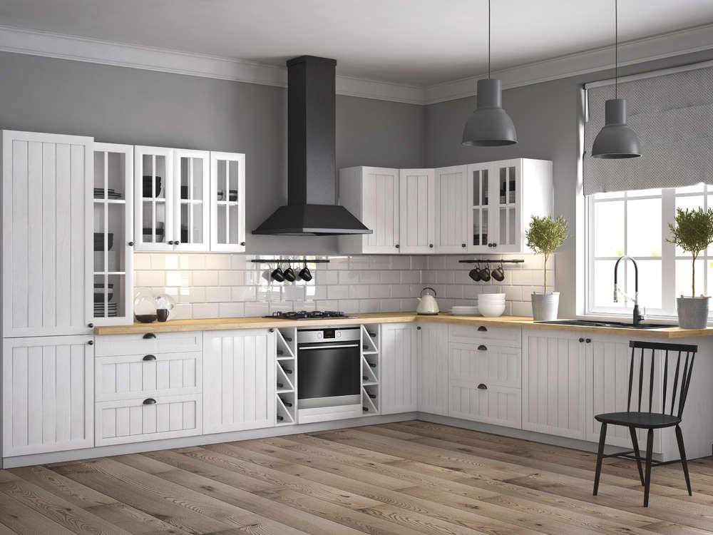 Küchenzeile Einbauküche Prowansja L FORM Erweiterbar MDF Weiß Kiefer