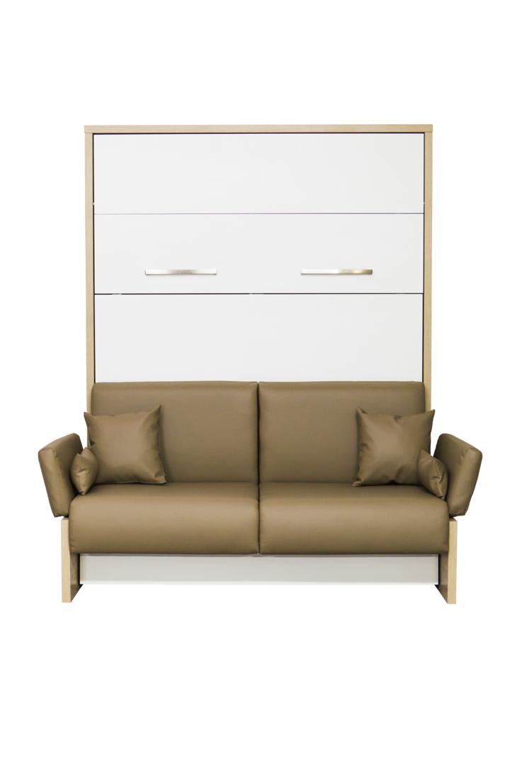 Wandbett mit sofa wbs 1 soft 160 x 200 cm wei bardolino eiche - Wandbett mit sofa ...