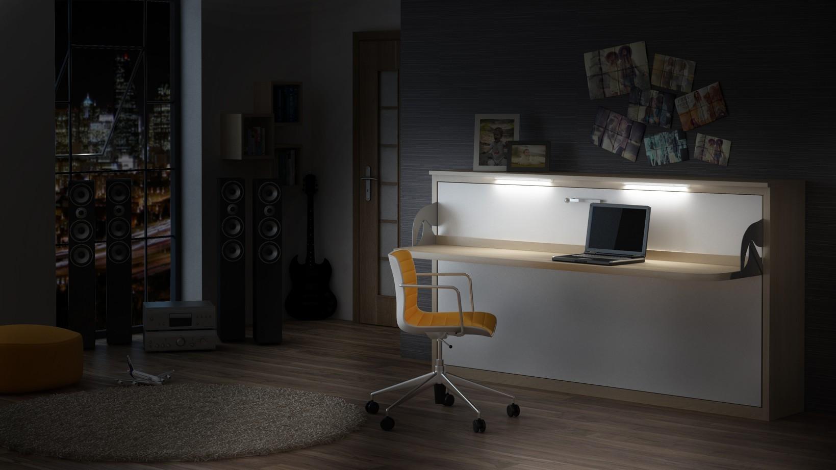 Quer Wandbett Schrankbett Singlo Desk 90 X 200 Cm, In Weiß
