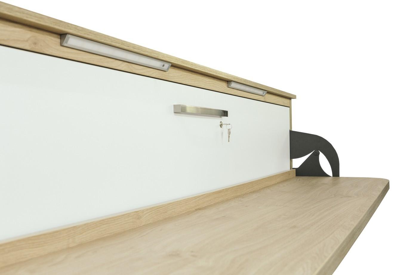 quer wandbett schrankbett singlo desk 90 x 200 cm in wei buche. Black Bedroom Furniture Sets. Home Design Ideas